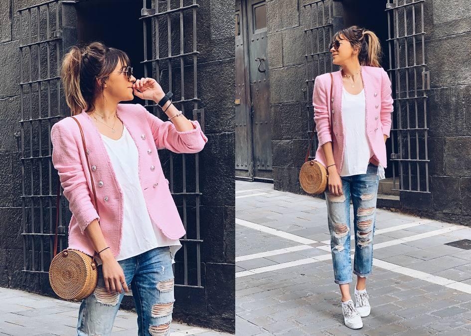 amaricana negra con camisa rosa