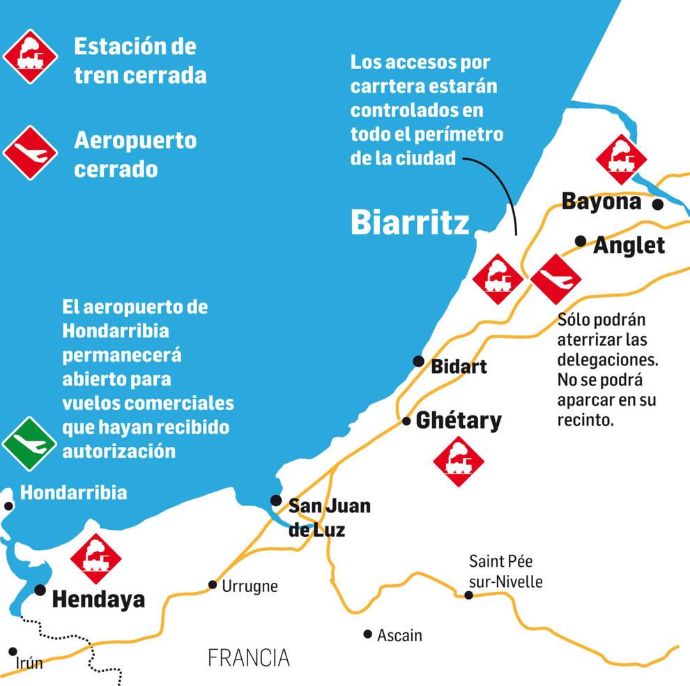 Aeropuertos y estaciones de tren cerrados por la cumbre del G7 en Biarritz