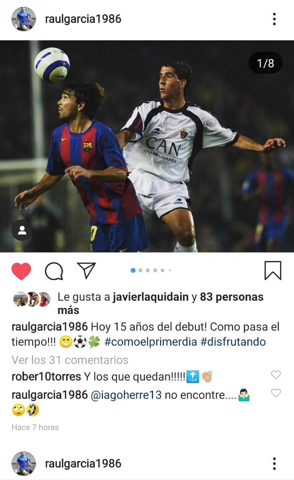 Raúl García rememora su debut con Osasuna hace 15 años