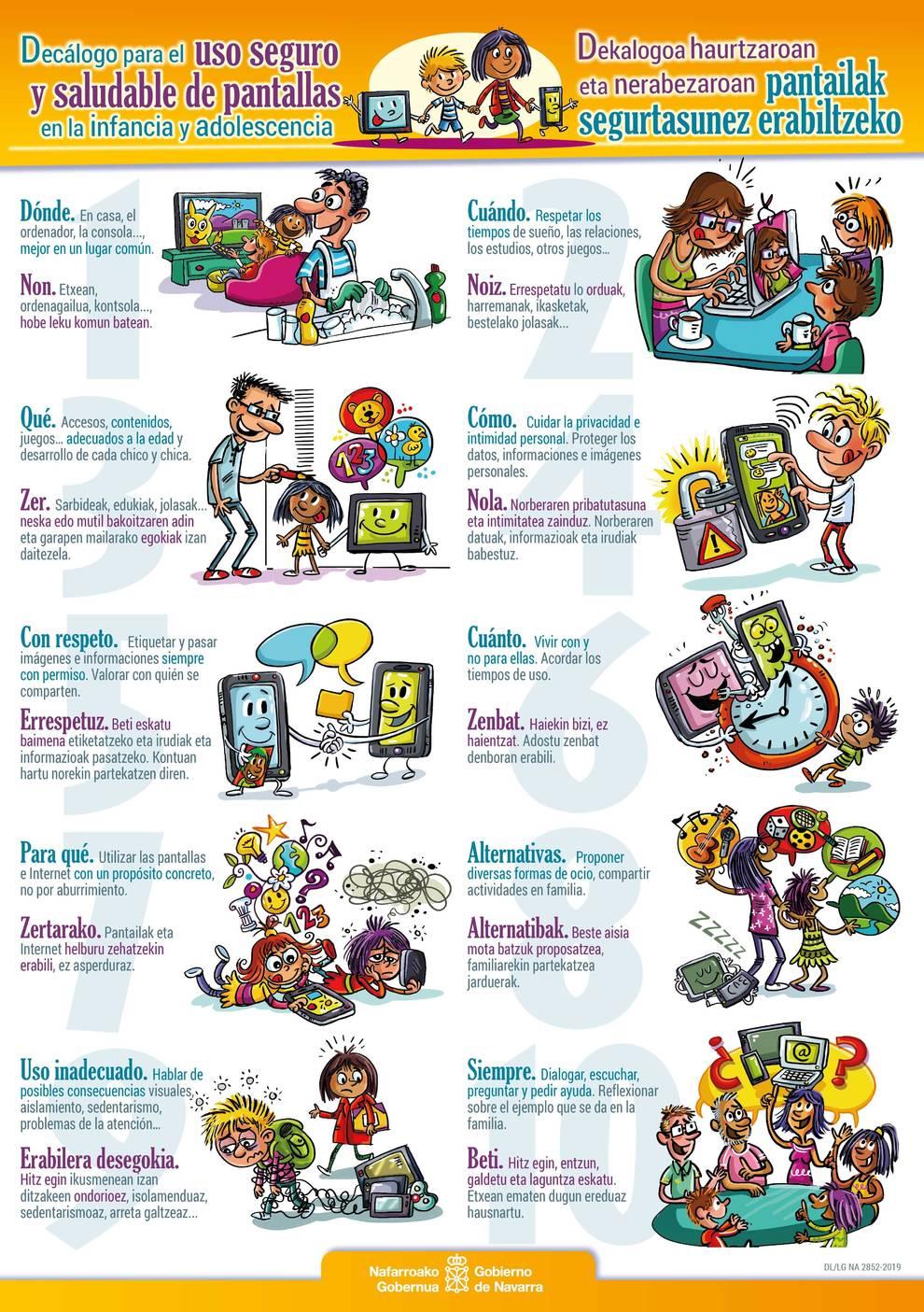 Decálogo para promover el uso seguro de pantallas en la infancia