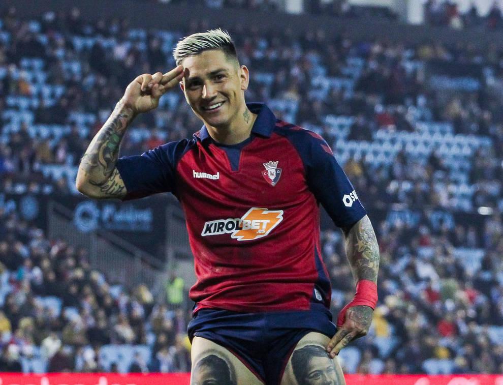 El Chimy Ávila celebra el gol conseguido el domingo ante el Celta de Vigo.