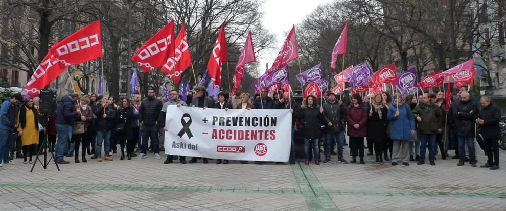 CC OO y UGT piden en Pamplona un plan de choque contra la siniestralidad laboral