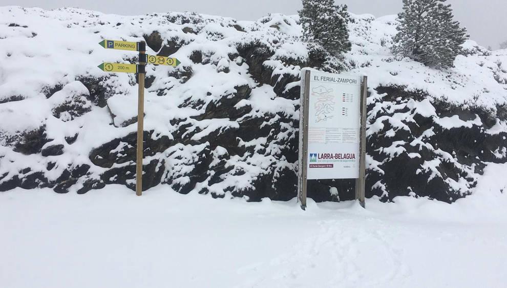Una imagen de las pistas de Larra Belagua está mañana tras la nevada.