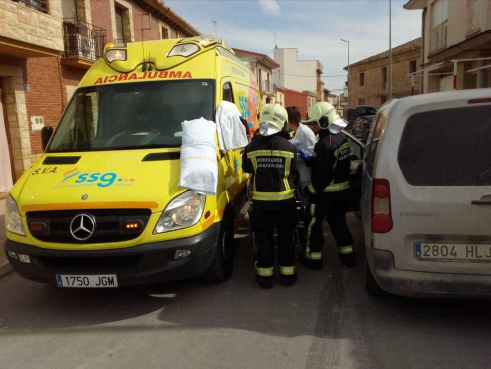 Dos trasladados al Hospital de Tudela tras chocar dos coches en Fustiñana