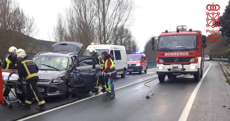 Un herido en un accidente de tráfico en la N-121-A en Sorauren