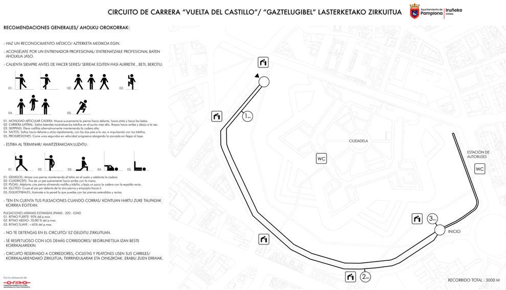 Pamplona estrena el circuito de running de la Vuelta del Castillo