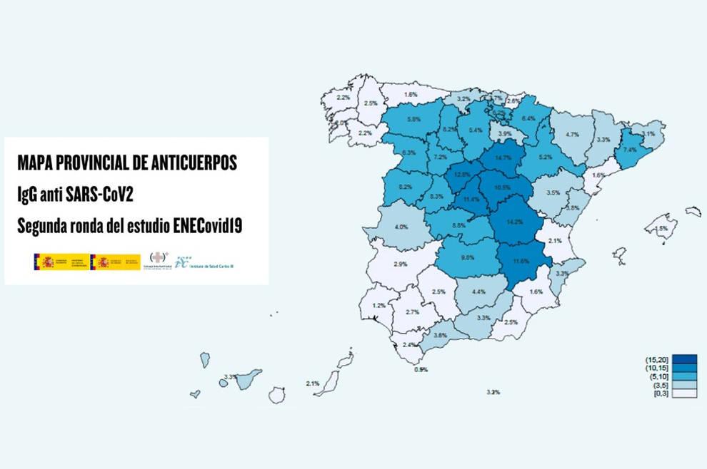 Mapa provincial de anticuerpos tras la segunda oleada del estudio de seroprevalencia.