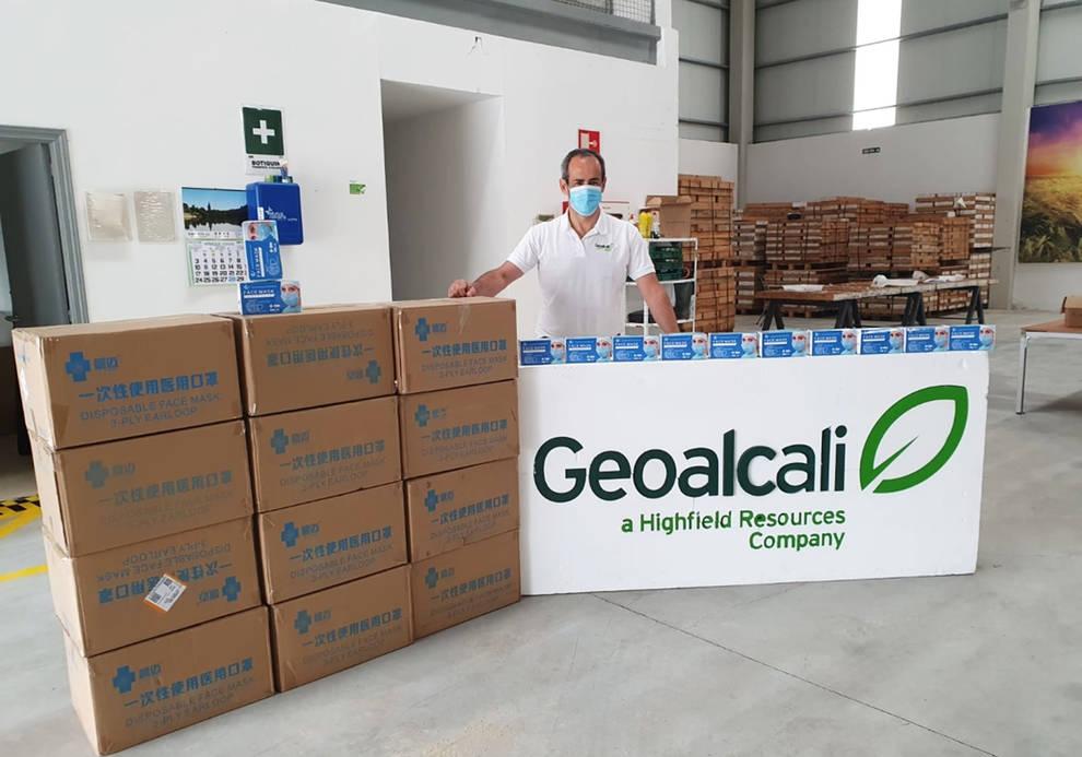 Geoalcali dona 22.000 mascarillas en el entorno de Mina Muga