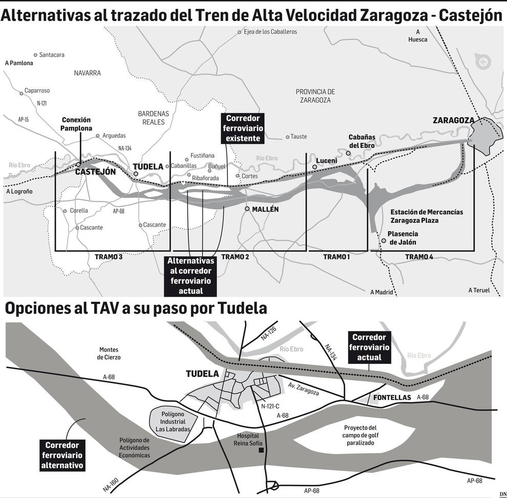 Un estudio apuesta por sacar las vías del TAV a las afueras de Tudela