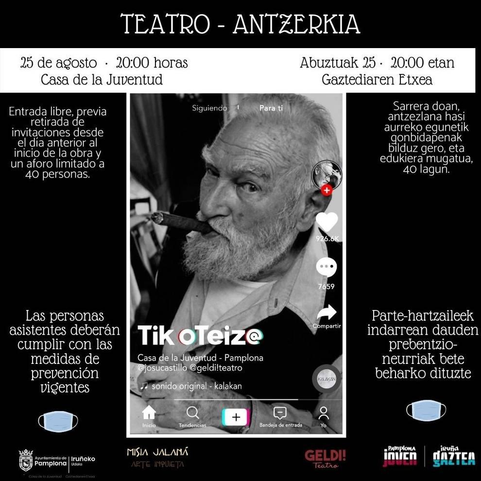 Geldi Teatro presenta este martes en la Casa de la Juventud la obra Tik Oteiz@