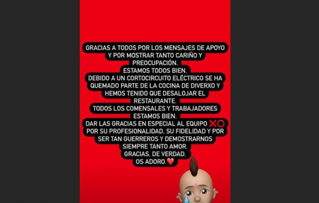 Mensaje en Instagram de Dabiz Muñoz sobre incendio de su restaurante