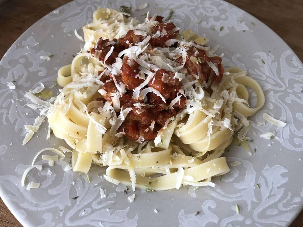 La cantidad de Parmigiano Reggiano siempre tiene que ser exagerada.