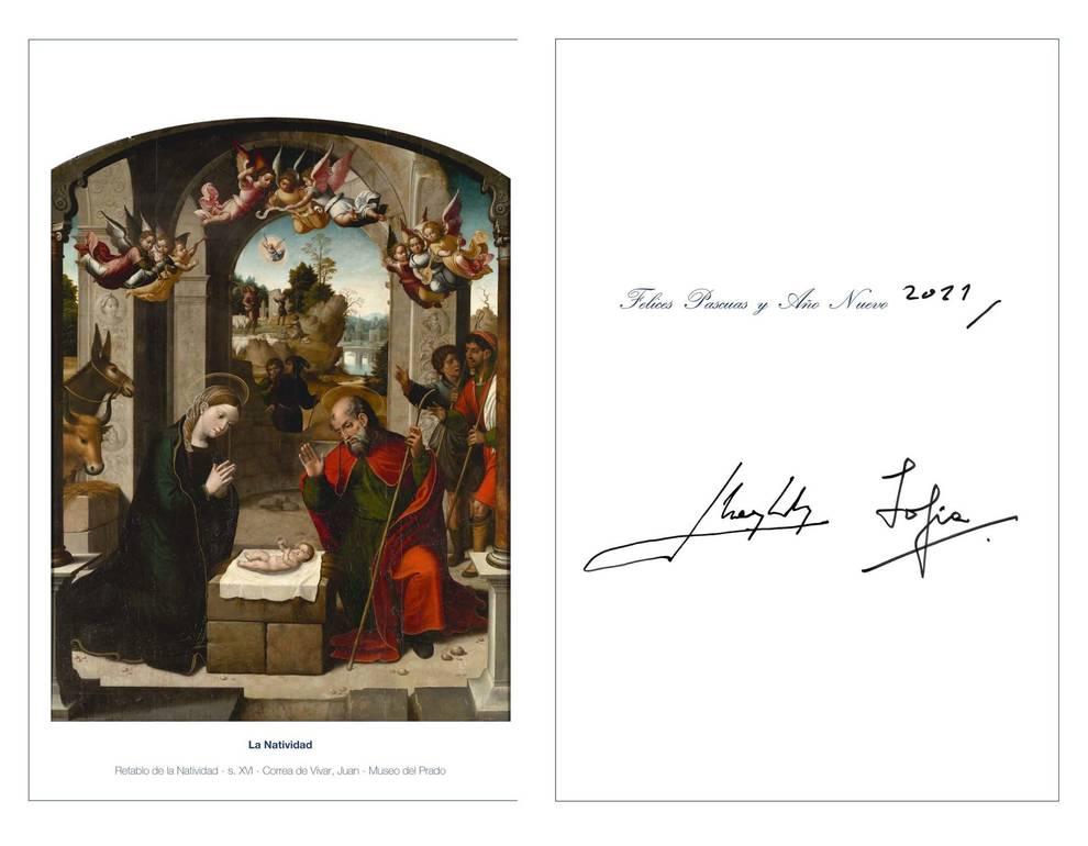 Los Reyes felicitan la Navidad con una foto de sus hijas y una tarjeta de los eméritos