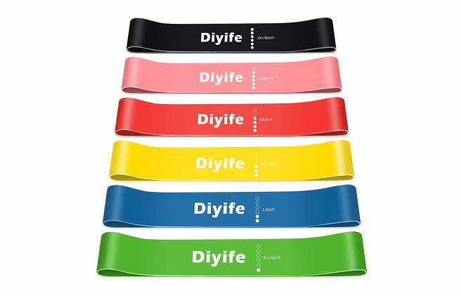 Imagen del pack de cinco bandas elásticas de Diyife