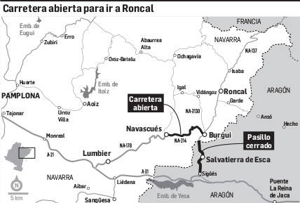 Carretera abierta para ir a Roncal
