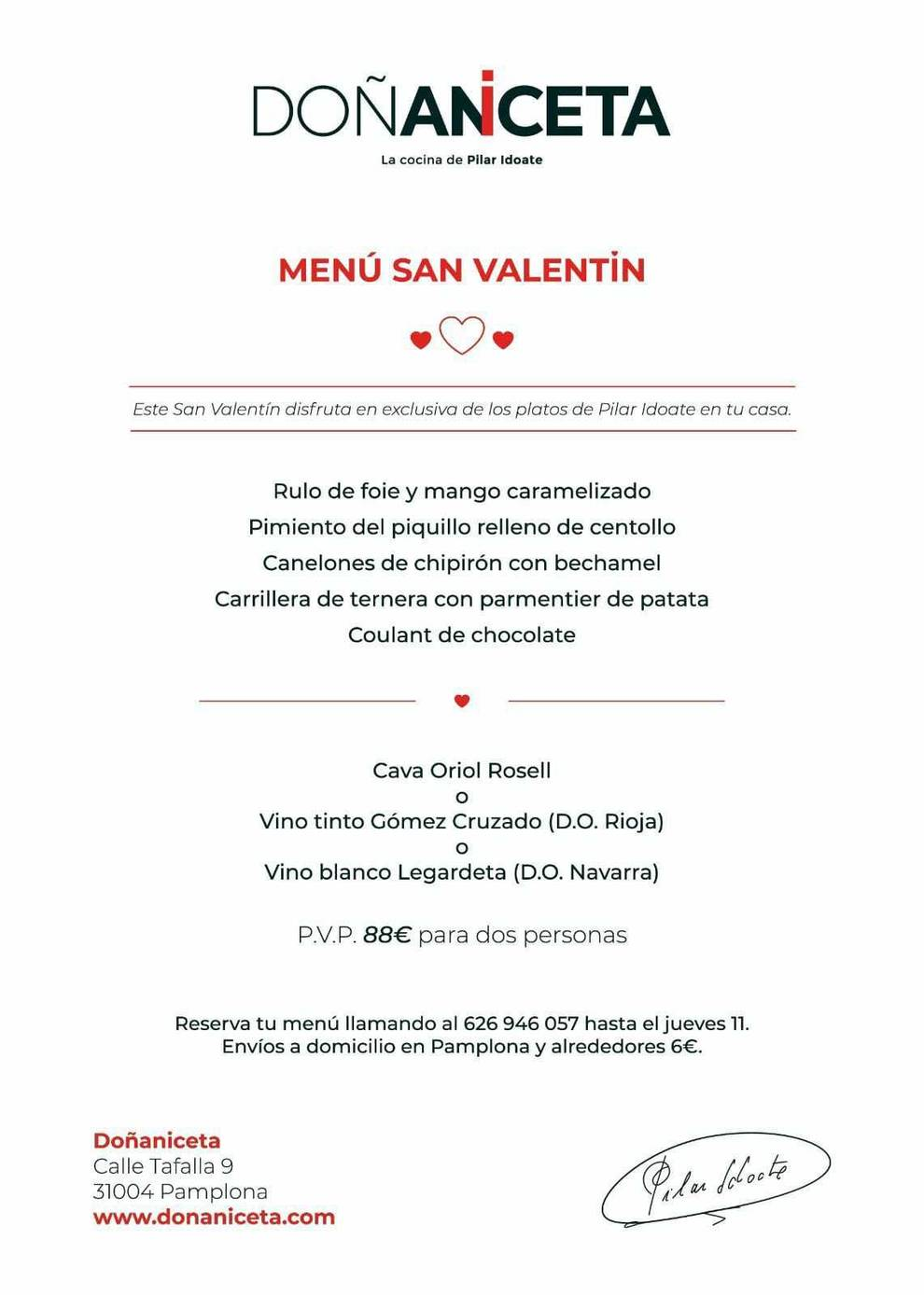 Imagen del menú de San Valentín de Doña Aniceta