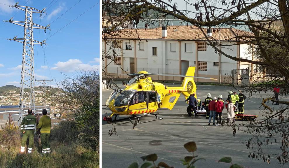 Un menor sufre quemaduras graves con un cable de alta tensión en Estella