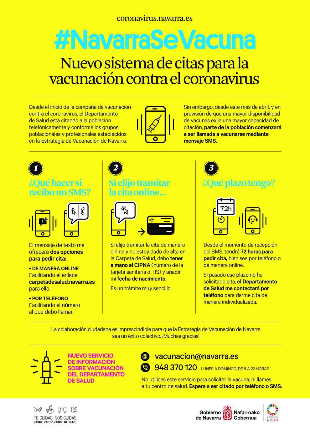 Salud activa un sistema de autocita para la vacuna del coronavirus en Navarra