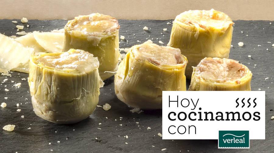 Alcachofas con foie y parmesano, una de las propuestas rápidas, sanas y deliciosos de Verleal.