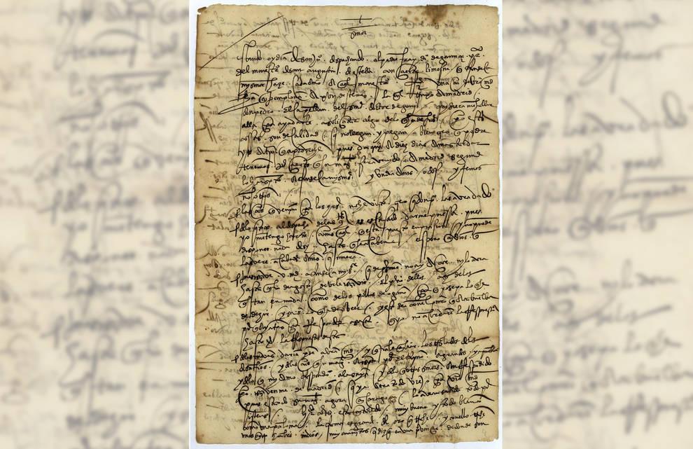 Carta sobre Hernán Cortés, escrita en 1528, que se puede ver en la exposición.
