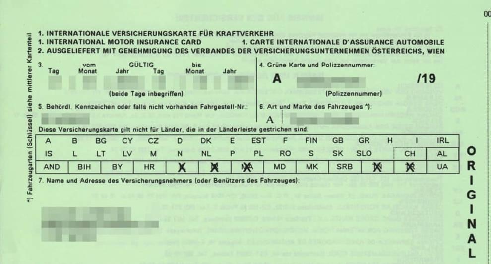 carta verde seguros