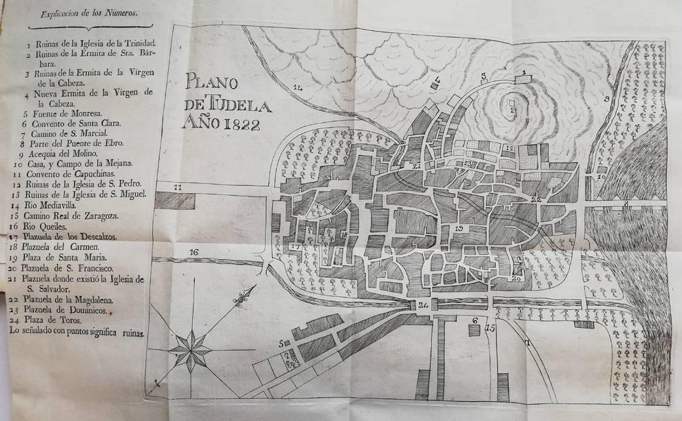 Plano de Tudela en el Diccionario histórico-político de Tudela publicado por Yanguas en 1823.