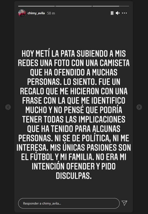 Storie de Instagram de disculpa del Chimy Ávila.