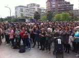 Concentración de este viernes ante el Palacio de Justicia de Pamplona. ÍÑIGO GONZÁLEZ
