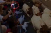Cornada del sexto encierro en Santo Domingo