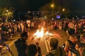 Protestas en la visita de los Reyes a Barcelona durante un acto de la Princesa