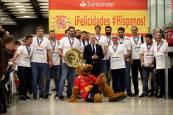 Llegada de la selección española de balonmano al aeropuerto Madrid Barajas-Adolfo Suárez