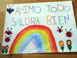 Fotos de dibujos y cartas contra el aislamiento en Tudela