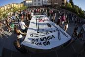 Manifestación en Aoiz contra el cierre de la fábrica de Siemens Gamesa