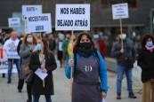 Imágenes de la concentración de protesta sel sector hostelero navarro