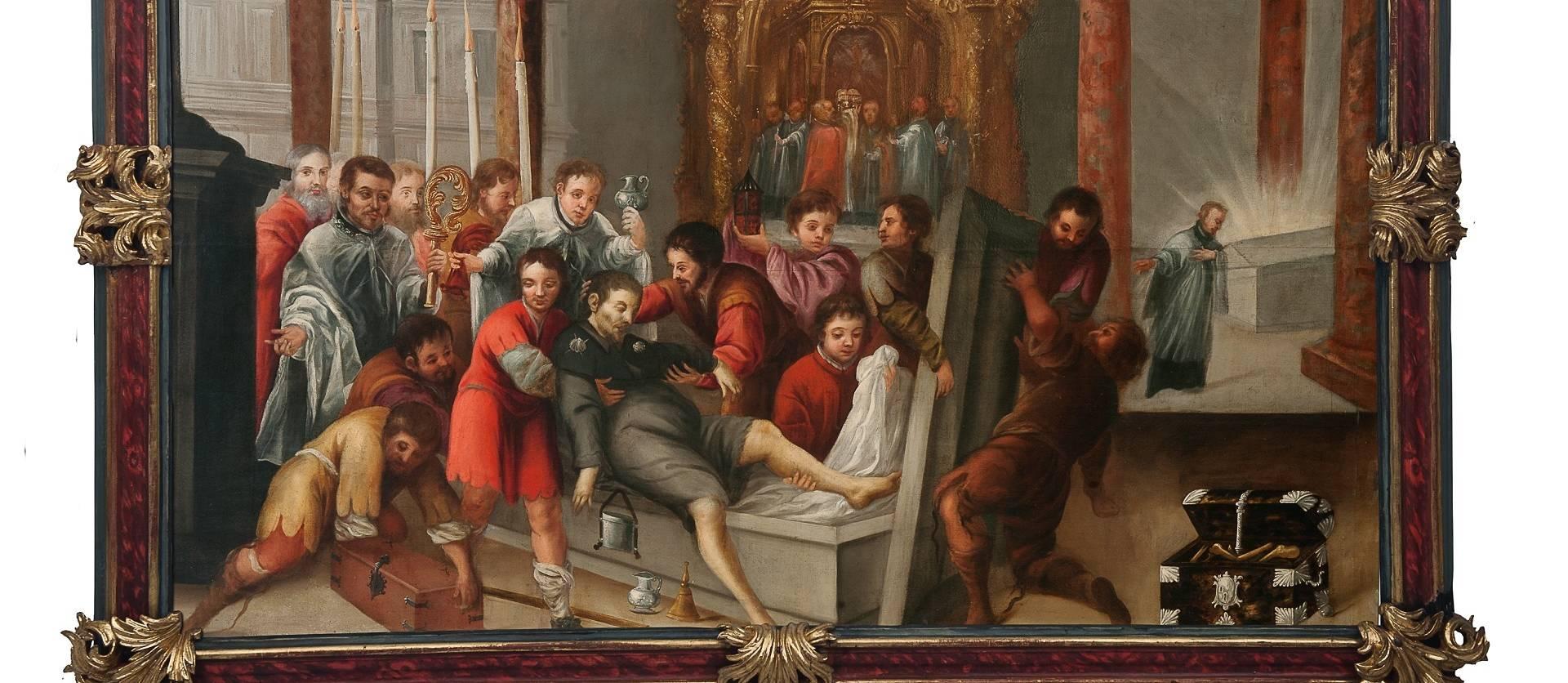 Lienzo de la leyenda del obispo de Patrás y la llegada del omoplato de San Andrés a Estella, en la capilla del santo en San Pedro de la Rúa de Estella. Tercer cuarto del siglo XVII.