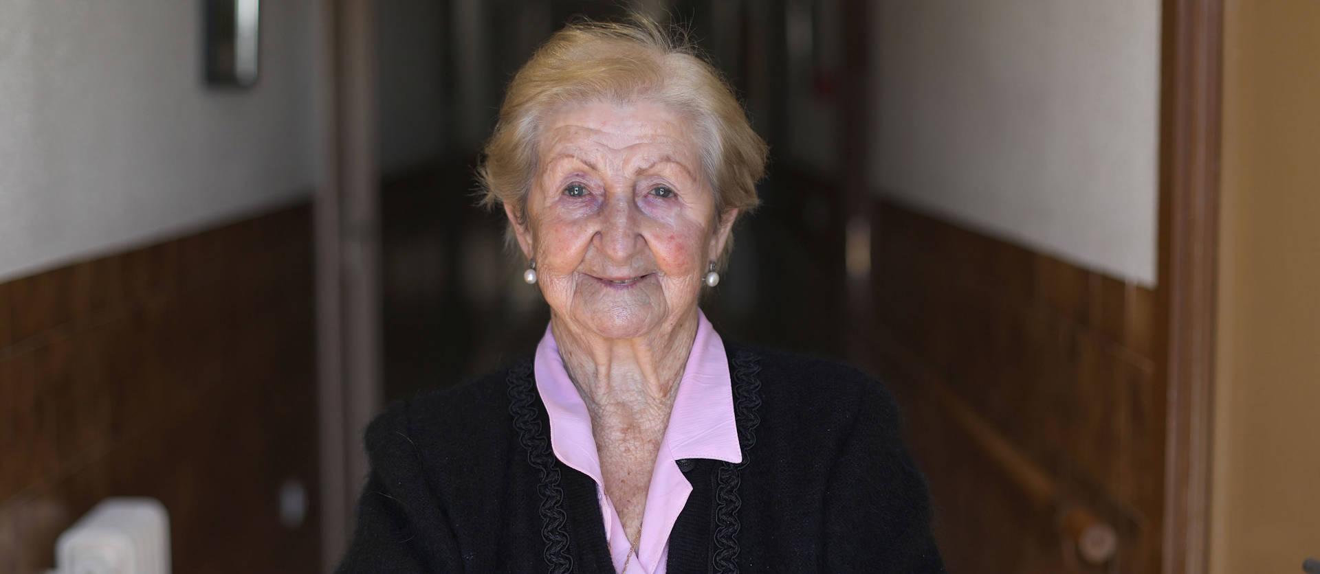 Foto de Concha León Conde, de 91 años de edad, reside en Virgen de Jerusalén, de Artajona.